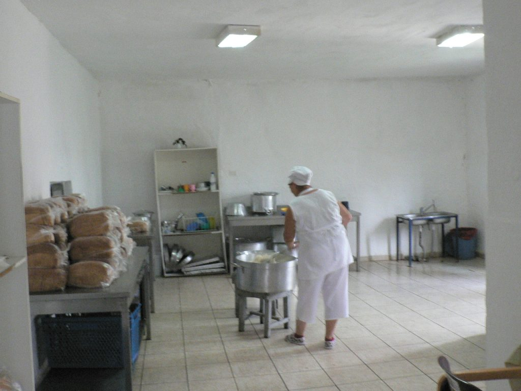 Women take turns to work in the kitchen as part of a daily work programme. Those who are able work 5-8 hours each weekday day, mostly a rotation of cleaning, gardening, cooking. Most prefer to be busy.